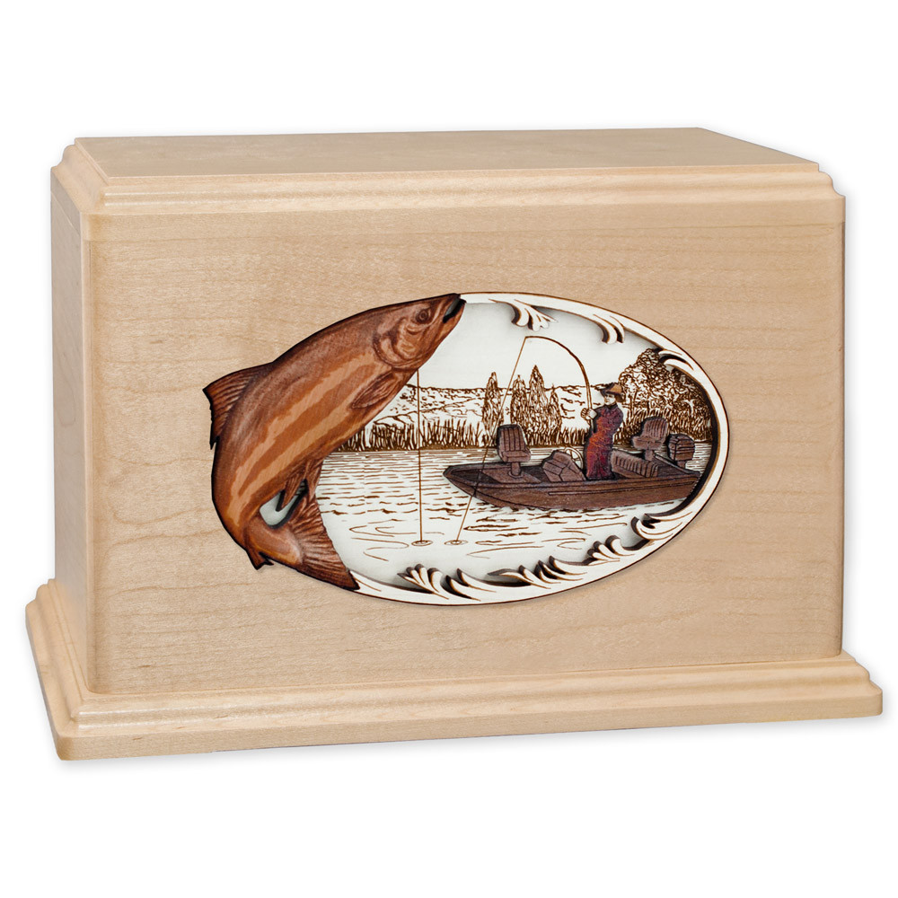 Salmon Boat Fishing Wooden Companion Urn - Maple Wood