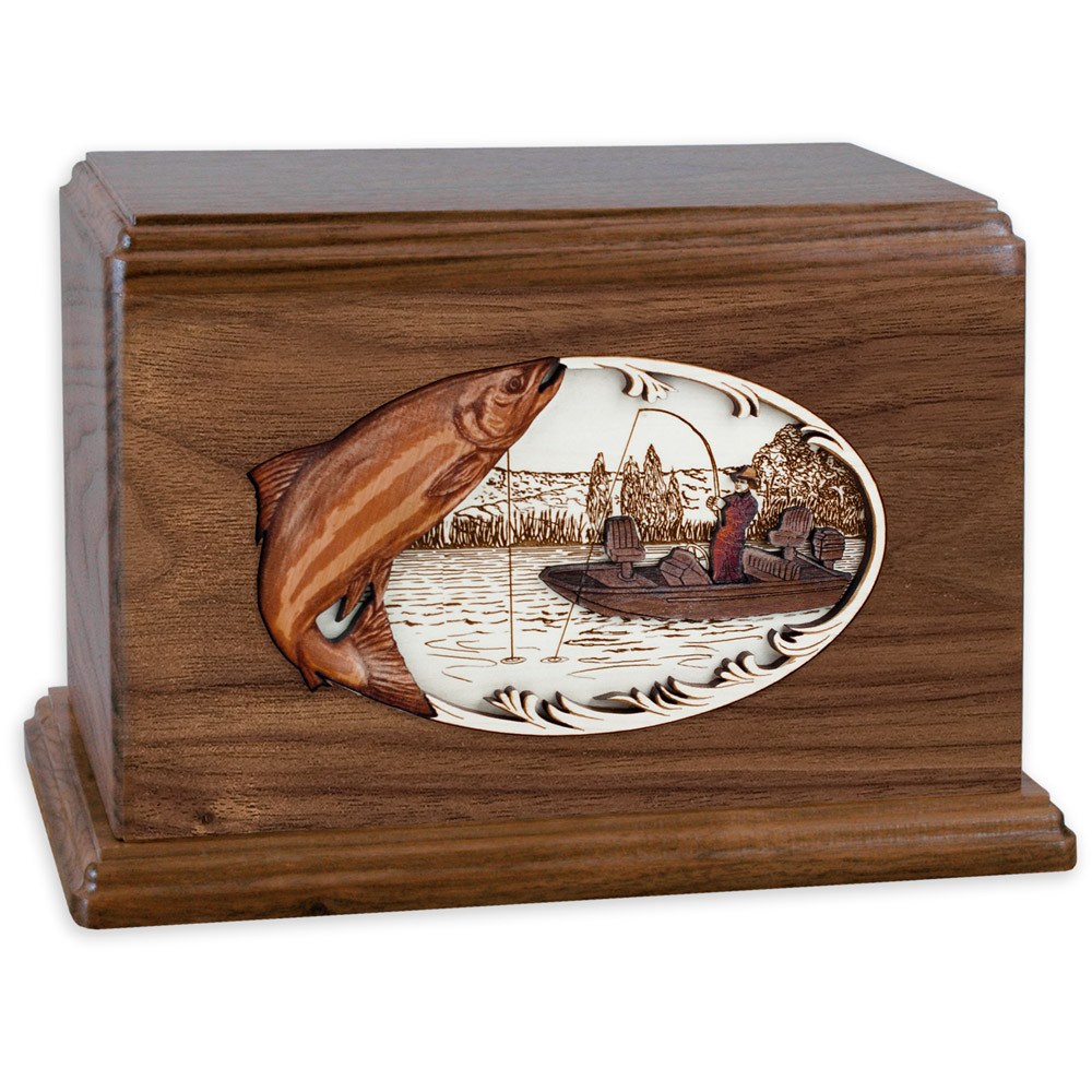 Salmon Boat Fishing Wooden Companion Urn - Walnut Wood