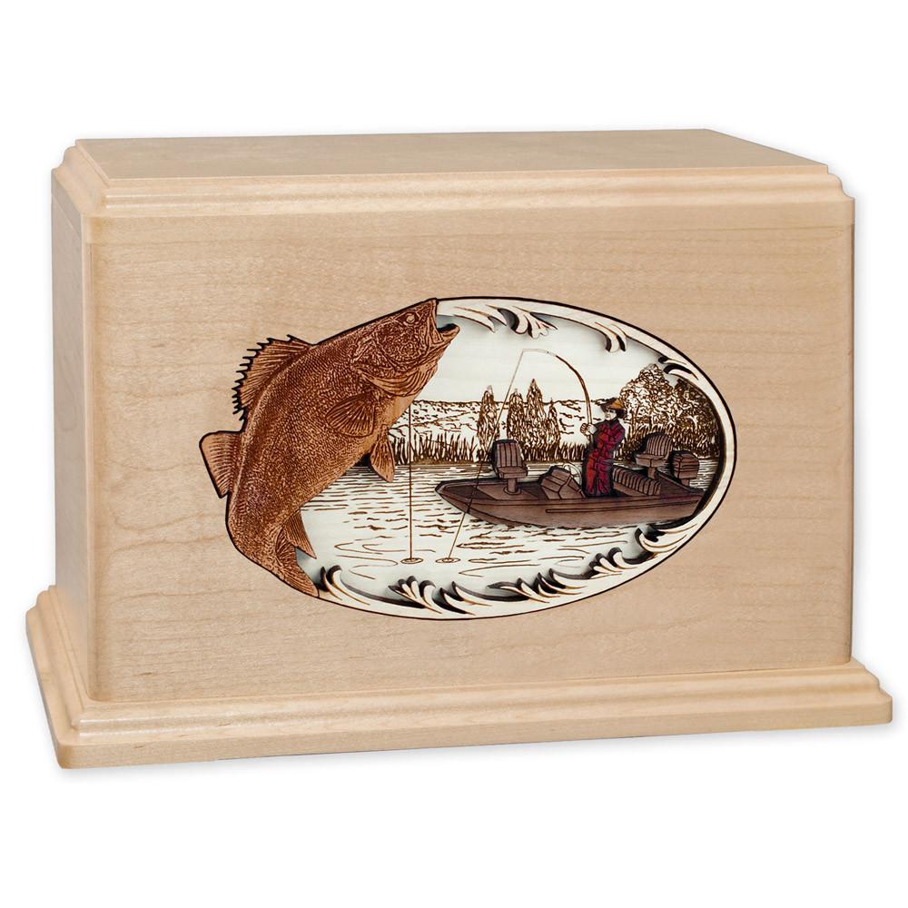 Walleye Boat Fishing Wooden Companion Urn - Maple Wood