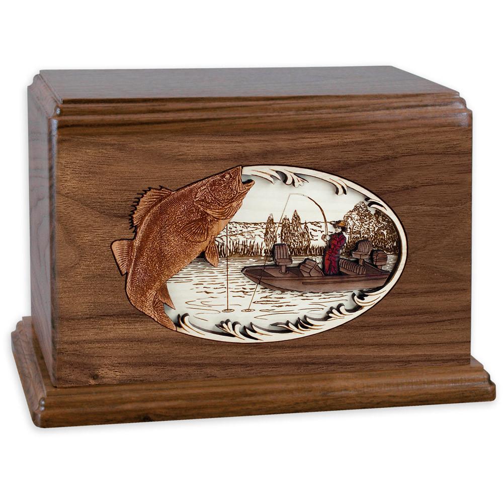Walleye Boat Fishing Wooden Companion Urn - Walnut Wood
