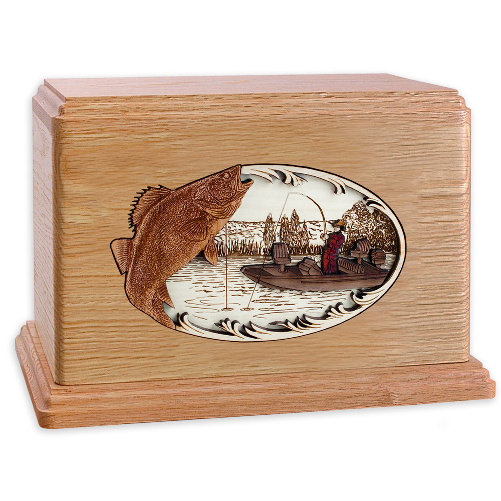 Walleye Boat Fishing Wooden Companion Urn - Oak Wood