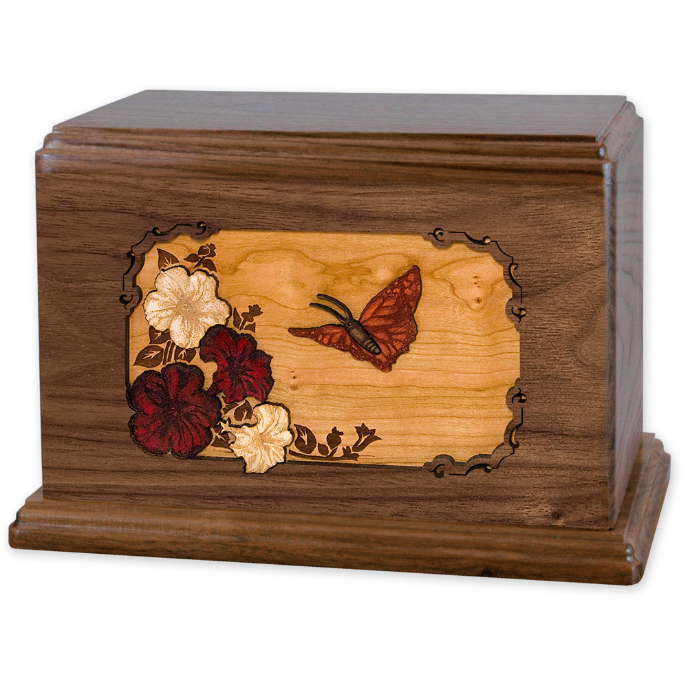 Butterfly & Flowers Wooden Companion Urn - Walnut Wood