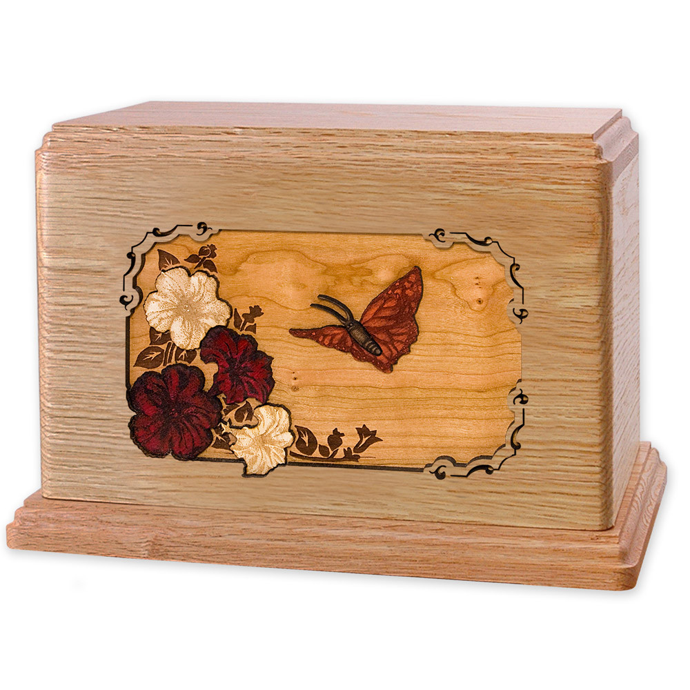 Butterfly & Flowers Wooden Companion Urn - Oak Wood