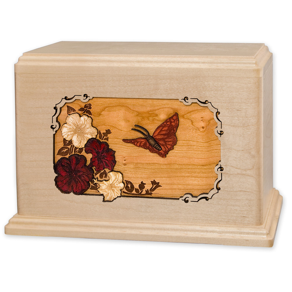 Butterfly & Flowers Wooden Companion Urn - Maple Wood