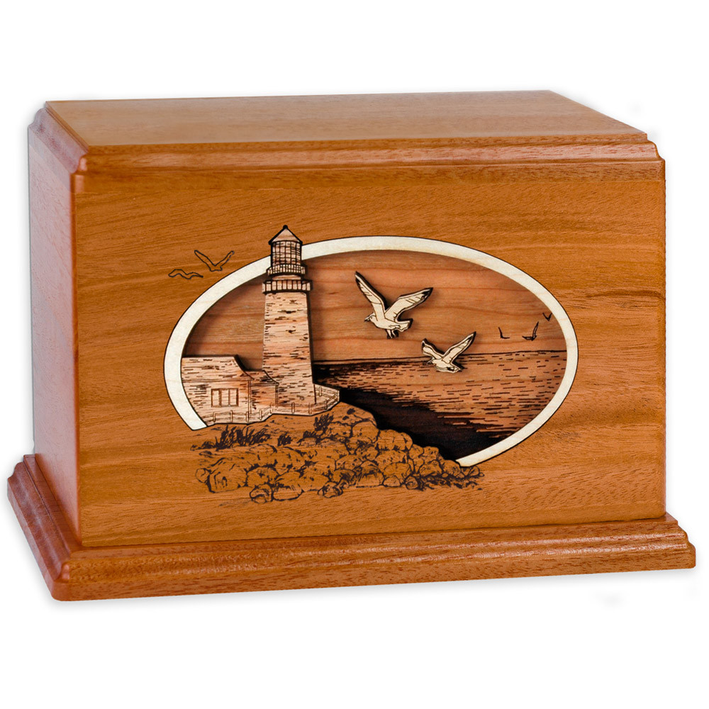 Classic Lighthouse - Mahogany Wood Companion Urn