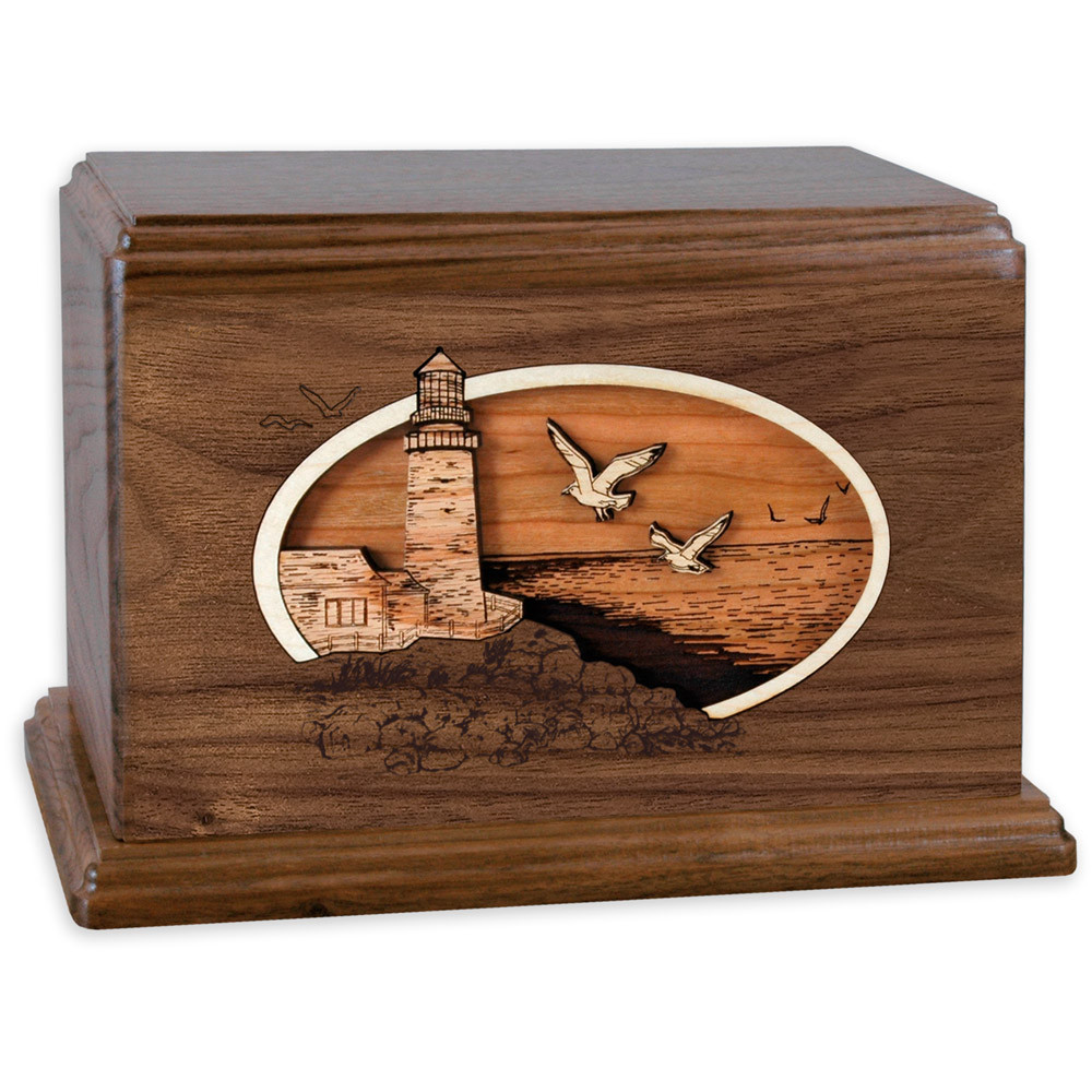 Classic Lighthouse - Walnut Wood Companion Urn