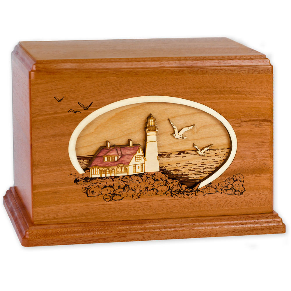 Portland Head Lighthouse - Mahogany Wood Companion Urn