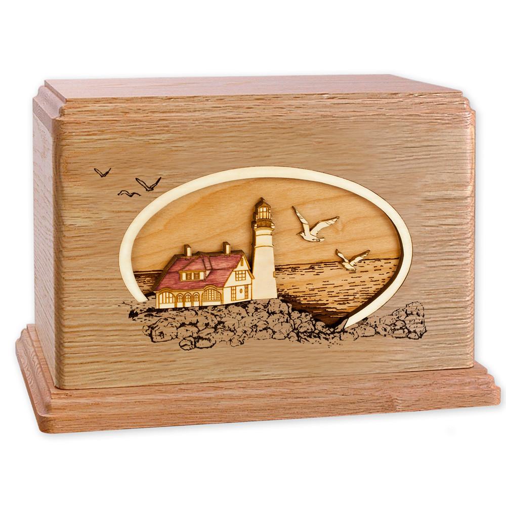 Portland Head Lighthouse - Oak Wood Companion Urn