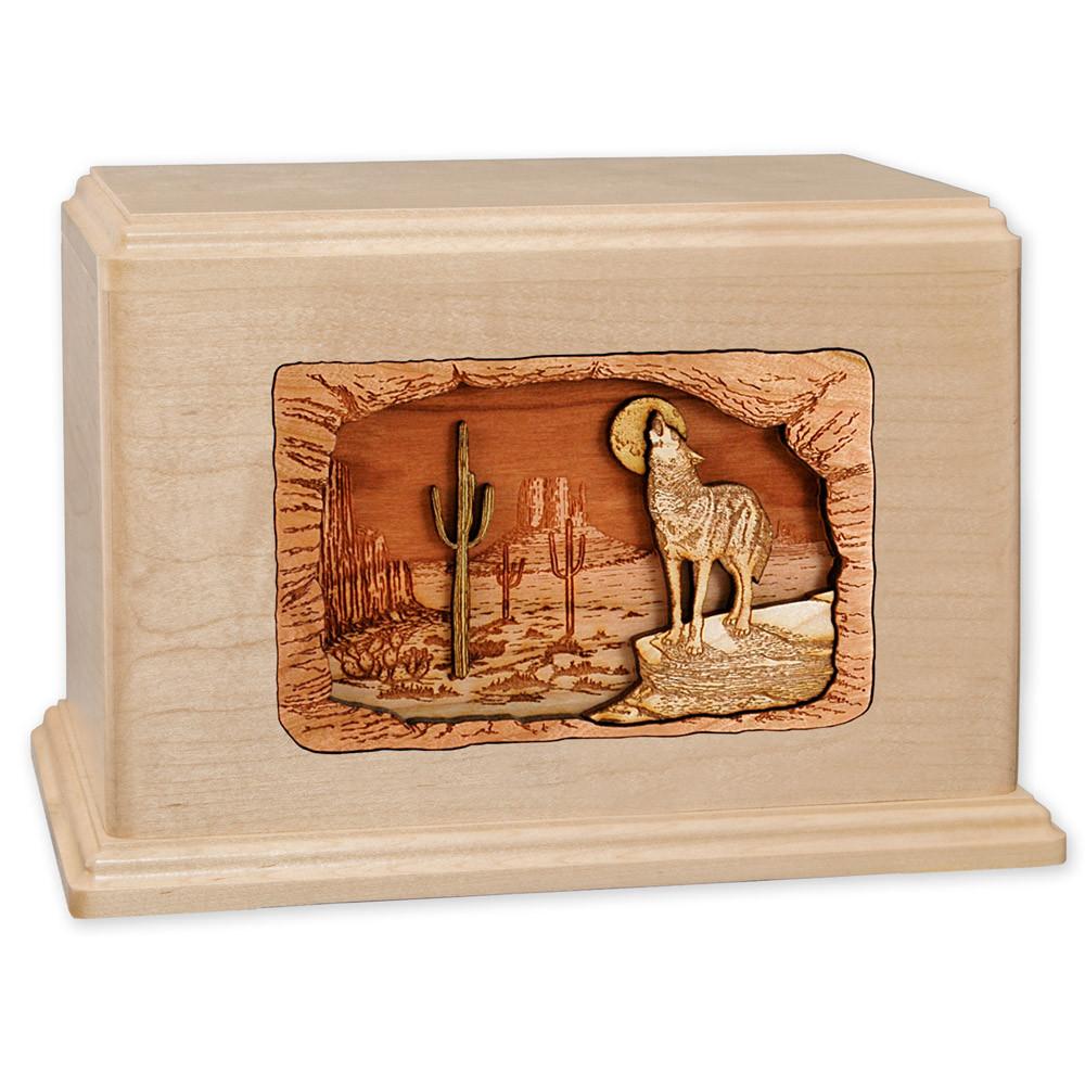 Desert Coyote Wood Companion Urn - Maple Wood