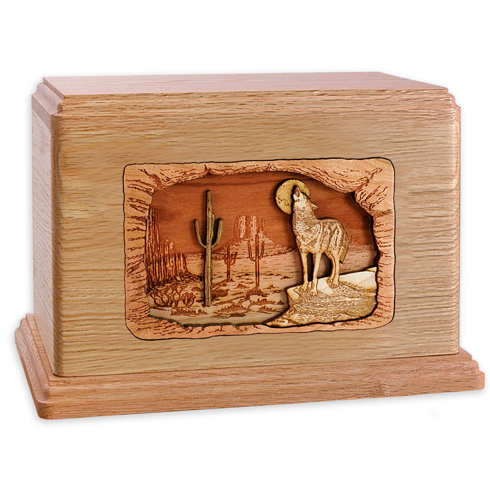 Desert Coyote Wood Companion Urn - Oak Wood