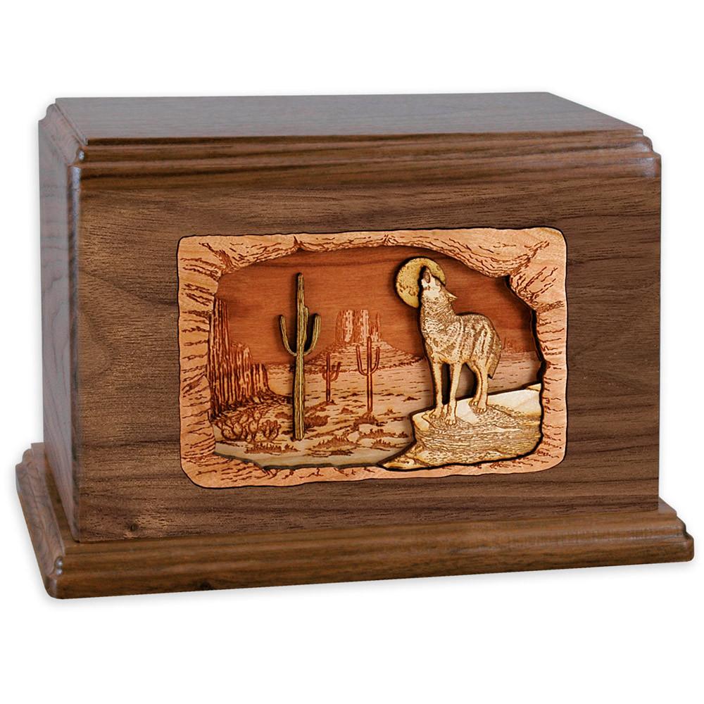 Desert Coyote Wood Companion Urn - Walnut Wood