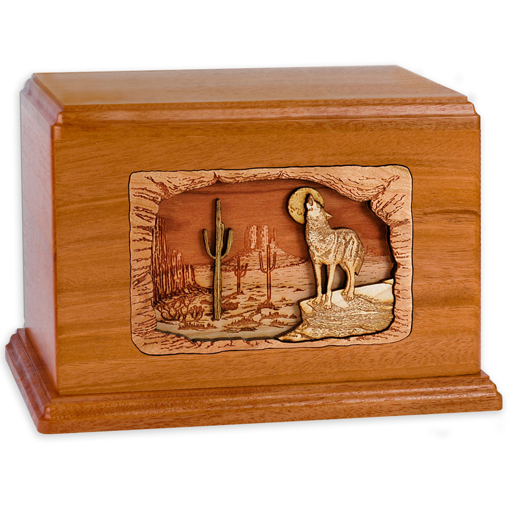 Desert Coyote Wood Companion Urn - Mahogany Wood