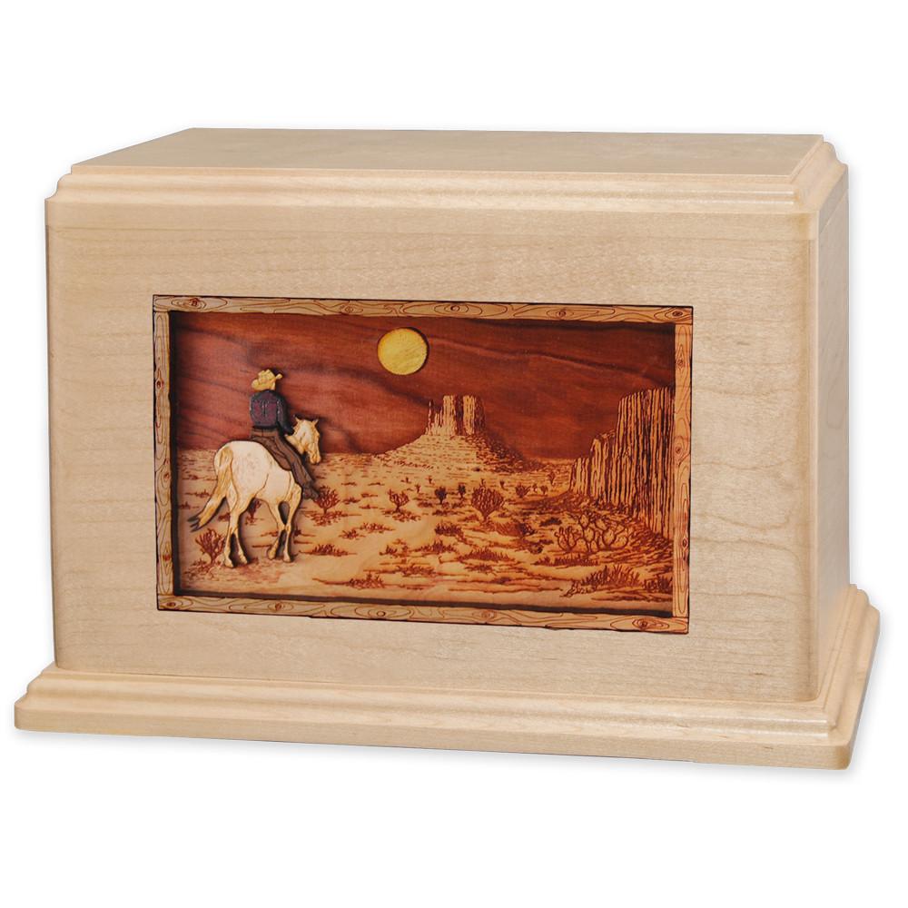 Horse & Rider Desert Companion Urn - Maple