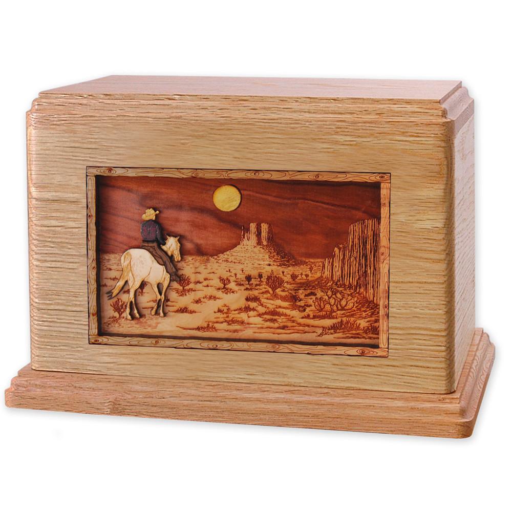 Horse & Rider Desert Companion Urn - Oak