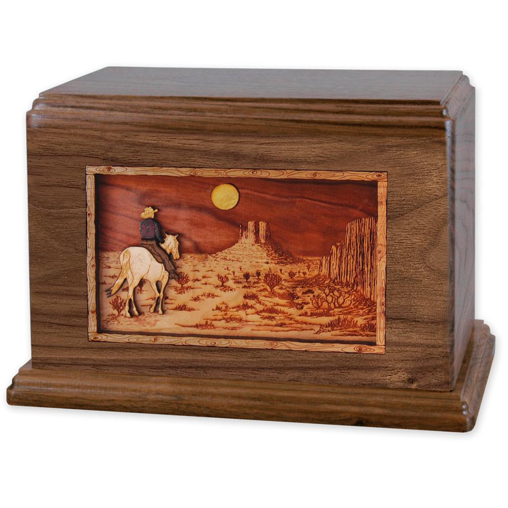 Horse & Rider Desert Companion Urn - Walnut