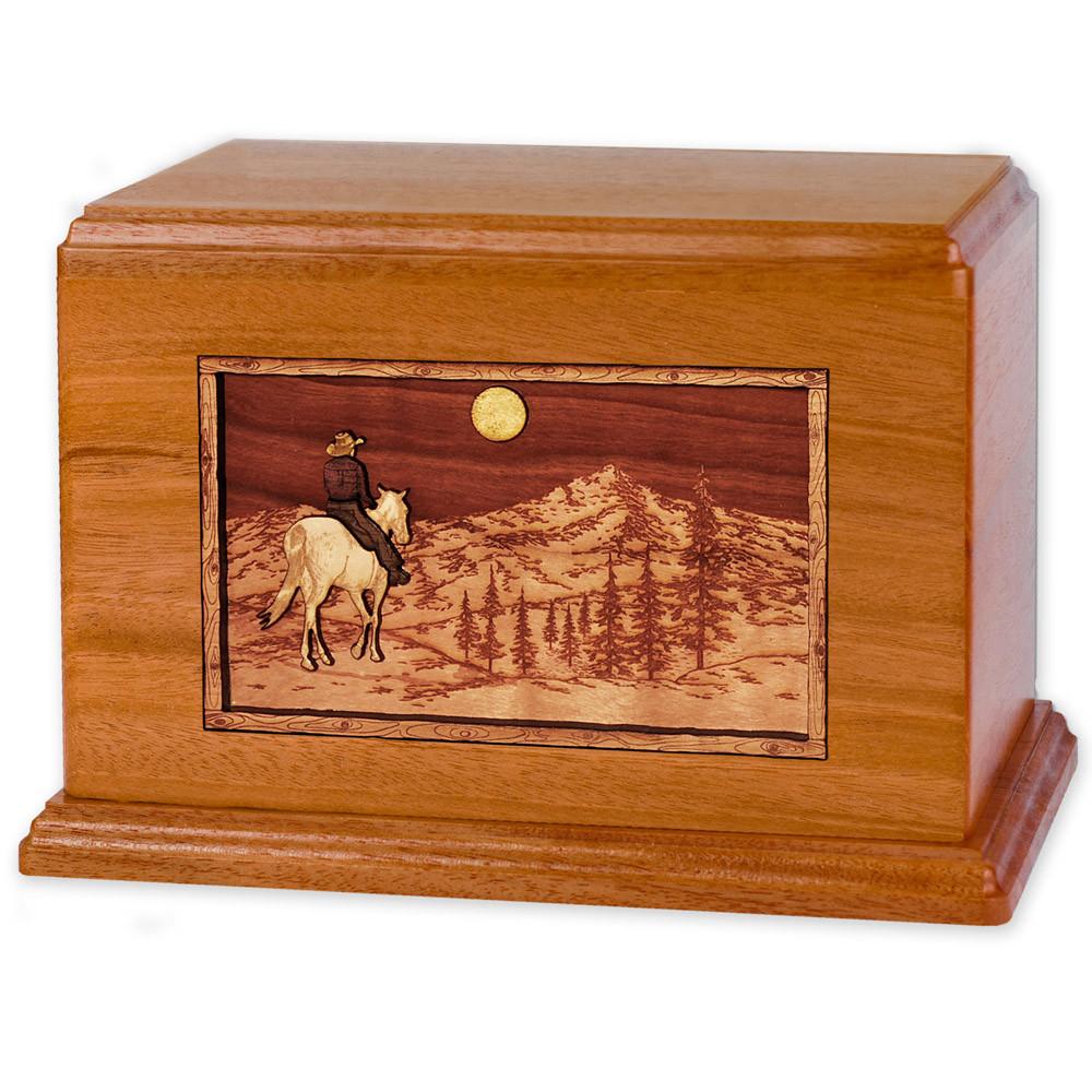 Horse & Rider Mountain Companion Urn - Mahogany