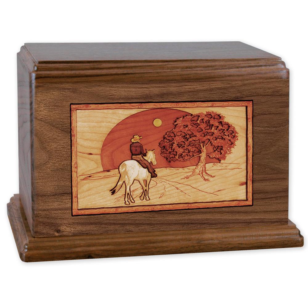 Horse & Rider Heartland Companion Urn - Walnut