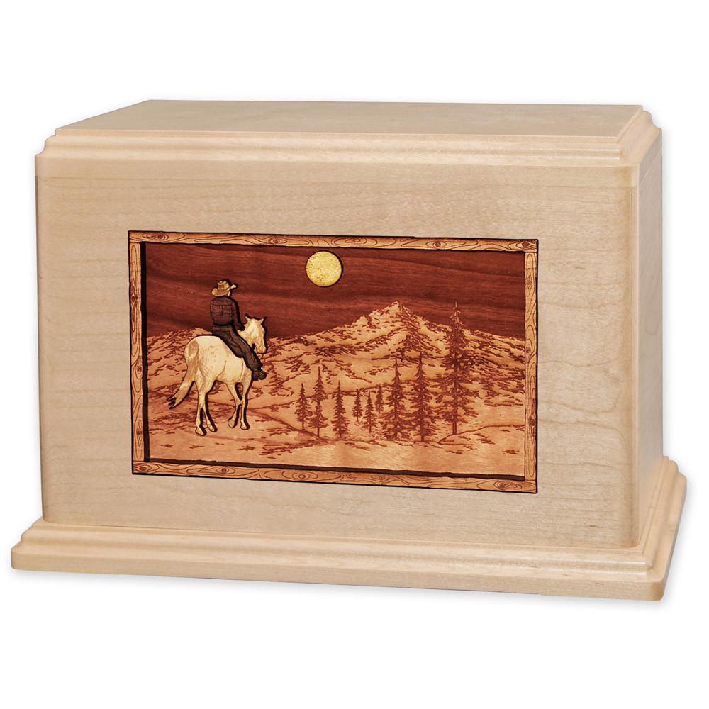 Horse & Rider Mountain Companion Urn - Maple