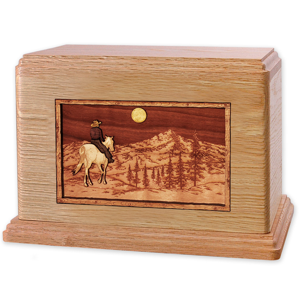Horse & Rider Mountain Companion Urn - Oak
