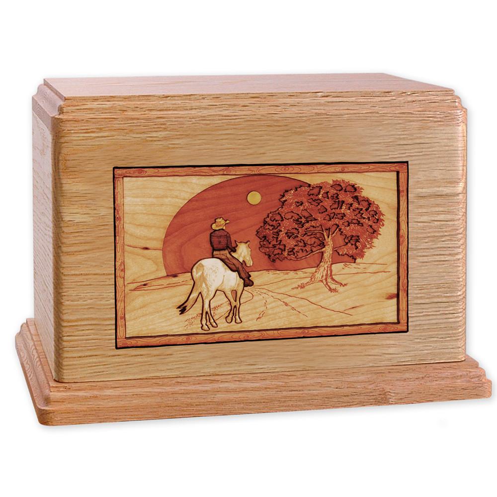 Horse & Rider Heartland Companion Urn - Oak