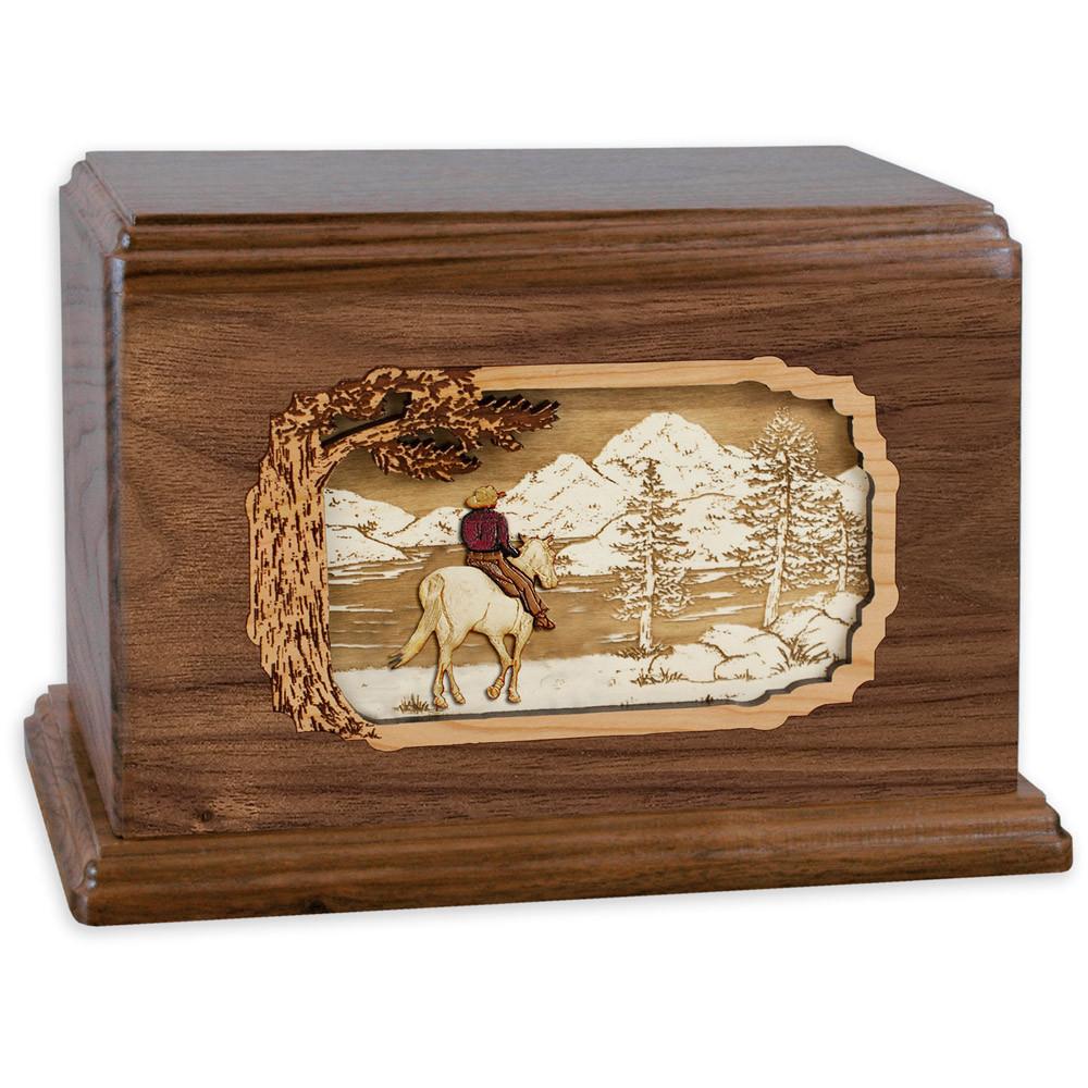 Horse & Rider Lake Companion Urn - Walnut