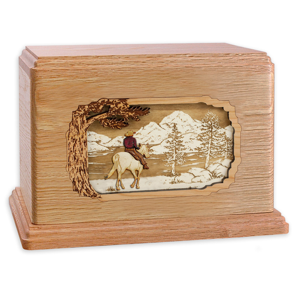 Horse & Rider Lake Companion Urn - Oak