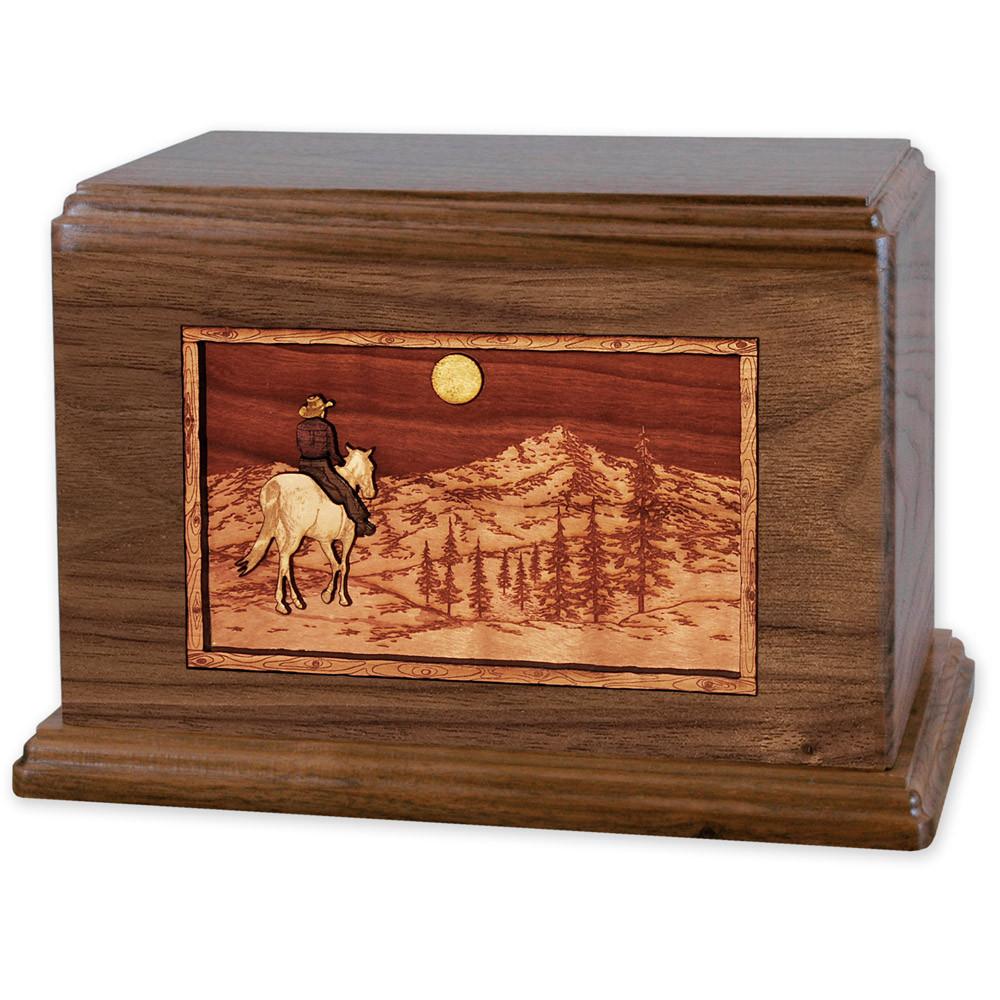 Horse & Rider Mountain Companion Urn - Walnut