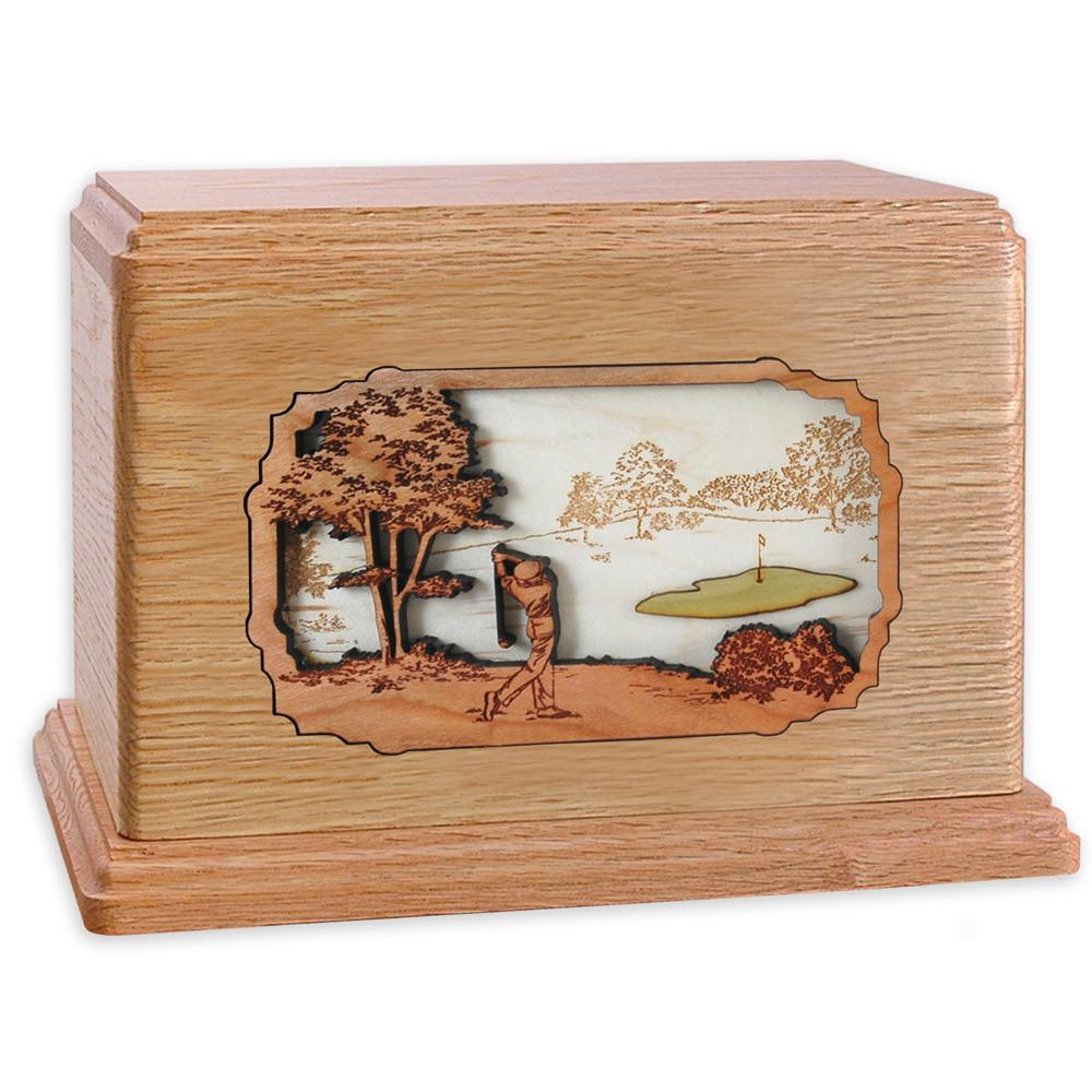Golf Companion Urn - Oak Wood