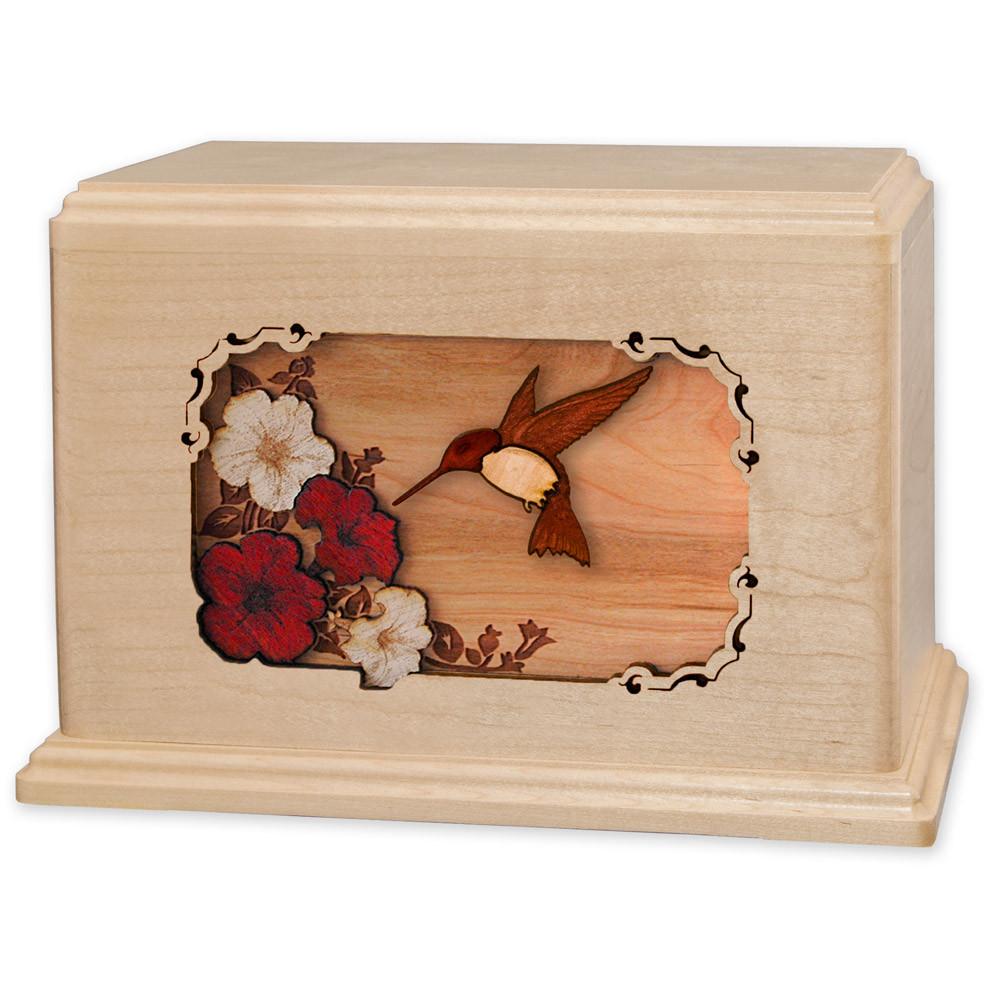 Hummingbird & Flowers Wooden Companion Urn - Maple Wood