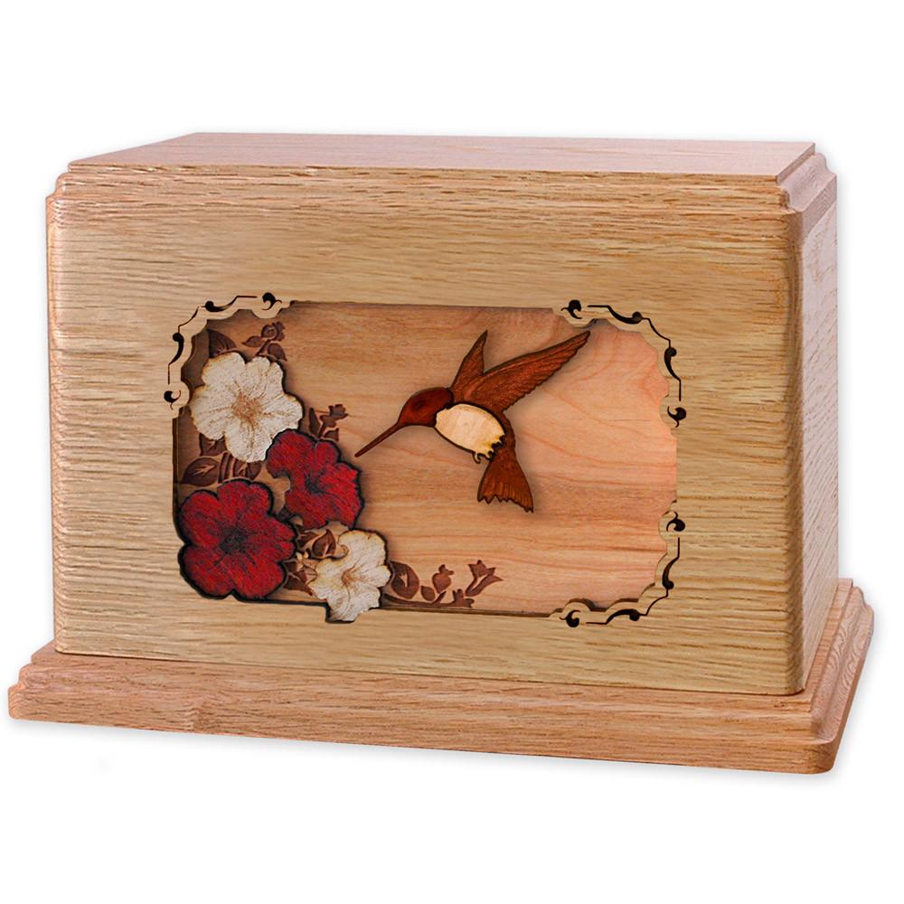 Hummingbird & Flowers Wooden Companion Urn - Oak Wood