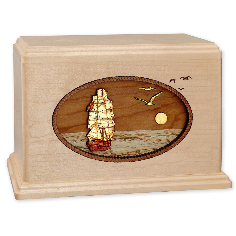 Sailing Ship Wood Companion Urn - Maple