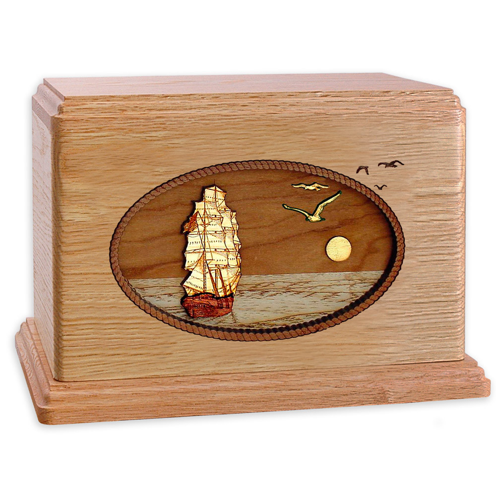 Sailing Ship Wood Companion Urn - Oak