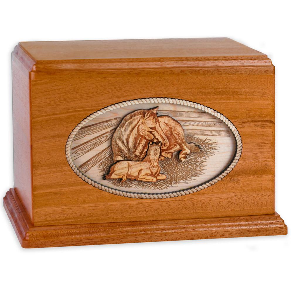 Mahogany Wood Companion Cremation Urn - Forever Love Horses