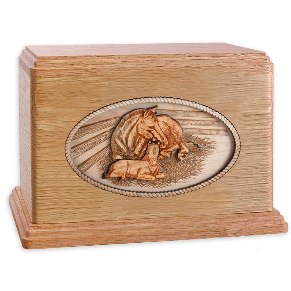 Oak Wood Companion Cremation Urn - Forever Love Horses
