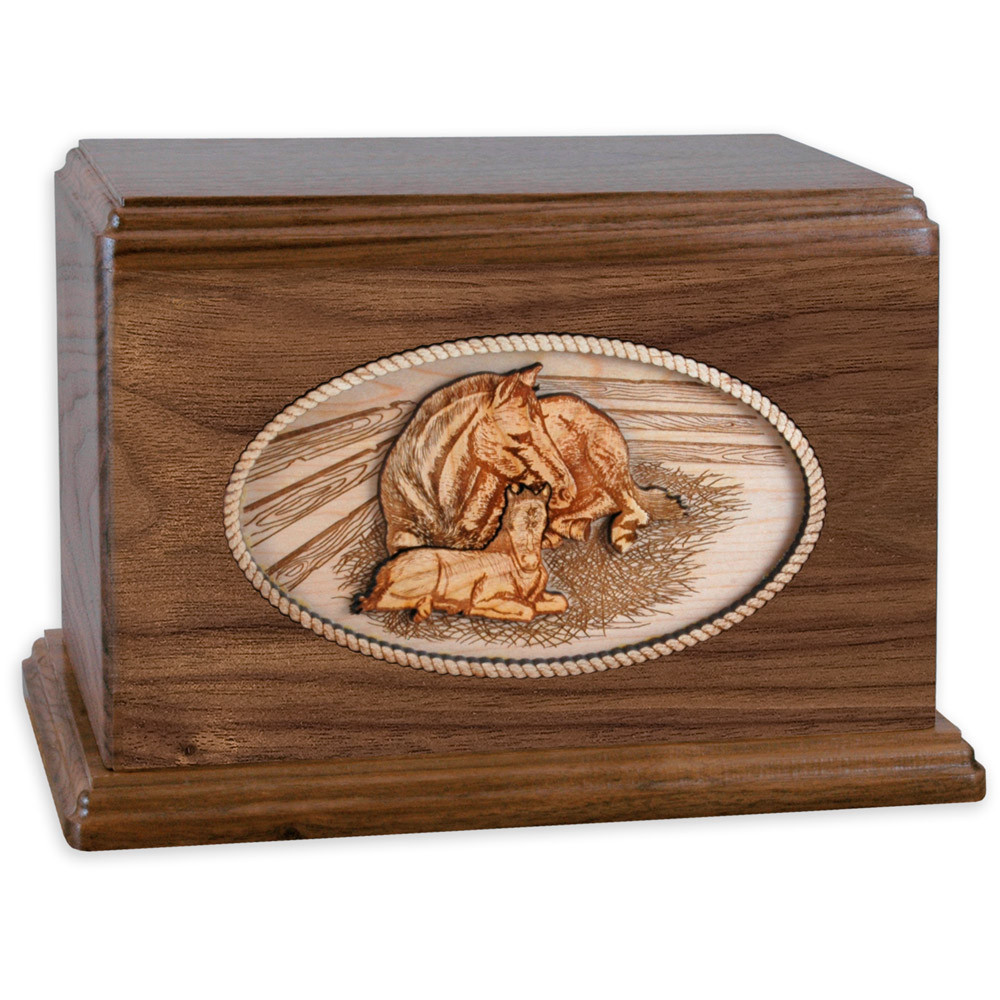 Walnut Wood Companion Cremation Urn - Forever Love Horses