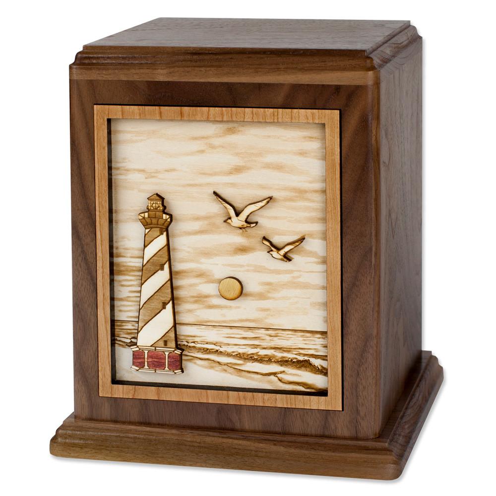 Cape Hatteras Lighthouse Cremation Urn - Walnut Wood