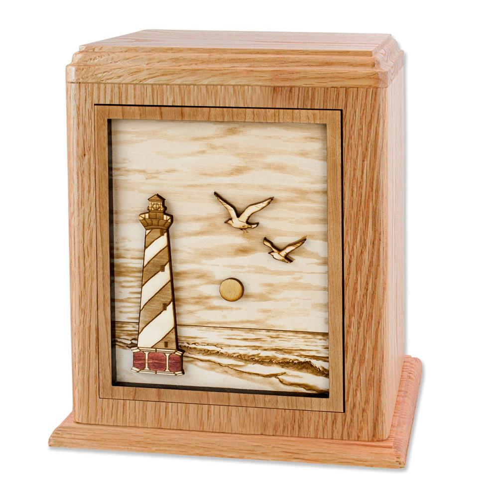 Cape Hatteras Lighthouse Cremation Urn - Oak Wood