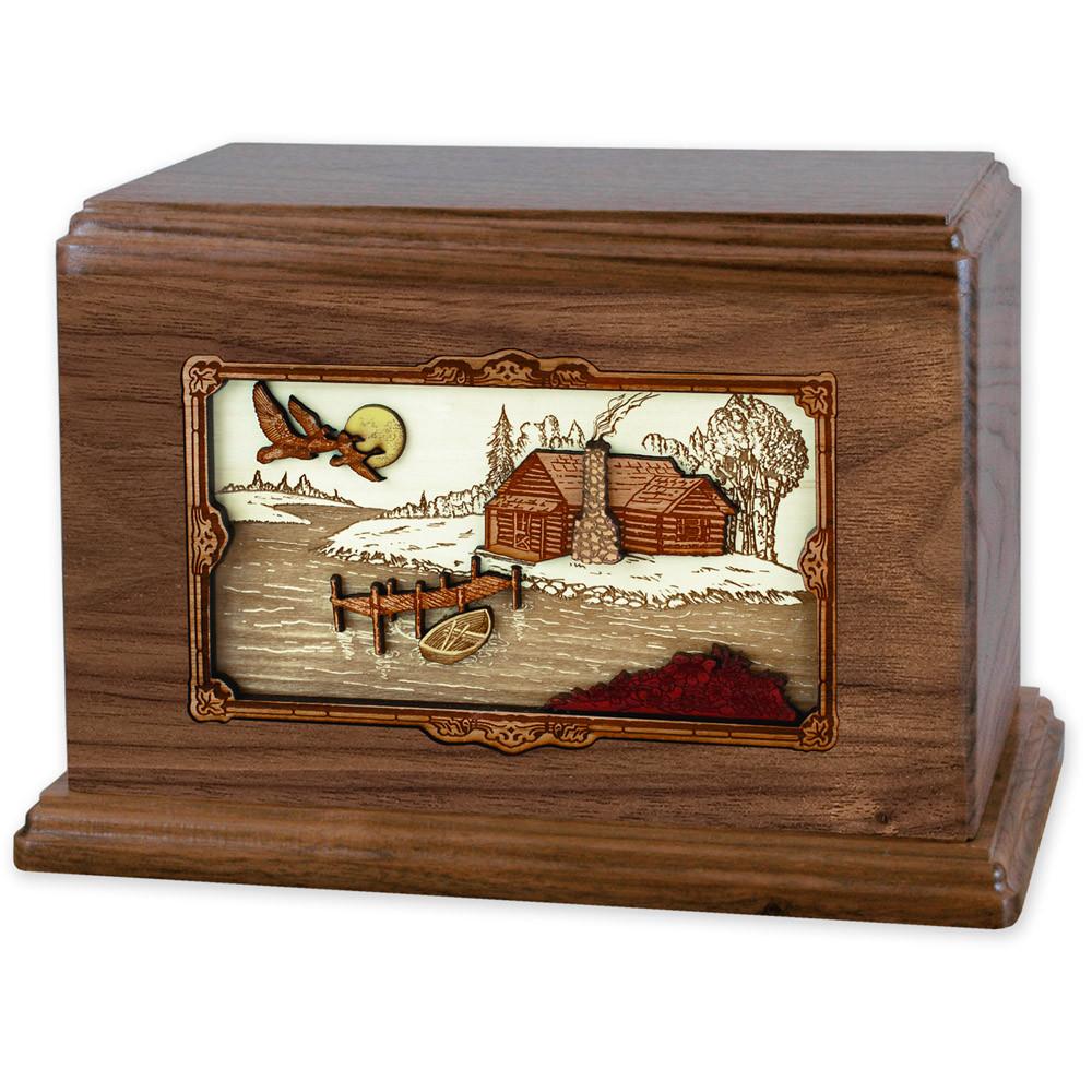 Rustic Paradise Cabin Companion Urn - Walnut Wood