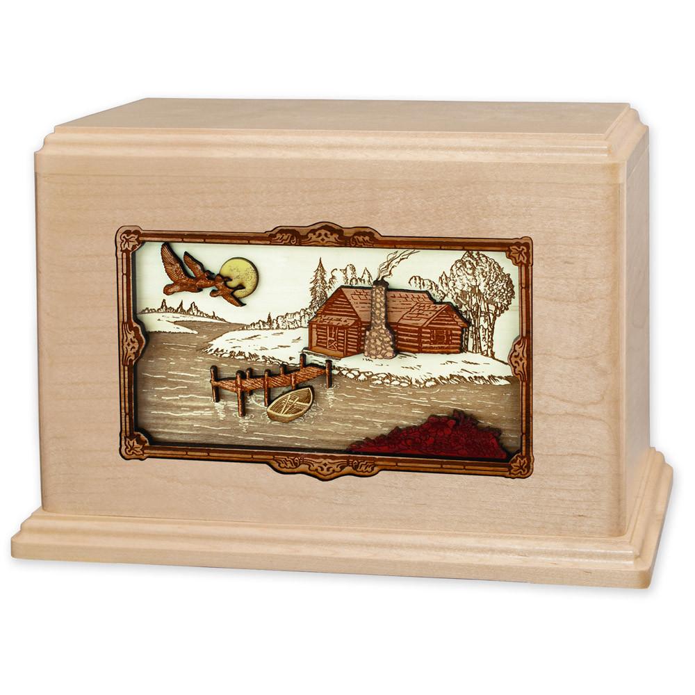 Rustic Paradise Cabin Companion Urn - Maple Wood