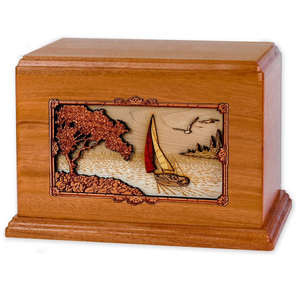 Soft Breezes Saiboat Companion Urn in Premium Mahogany Wood