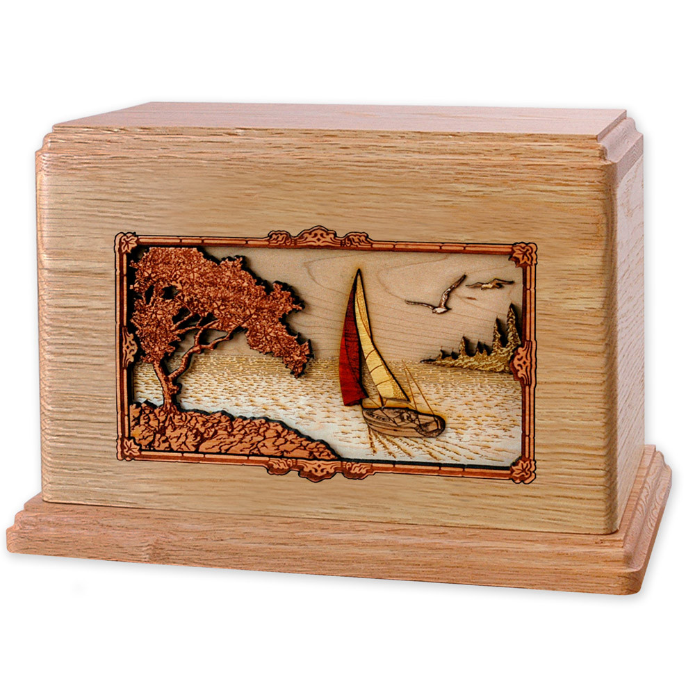 Soft Breezes Saiboat Companion Urn in Premium Oak Wood