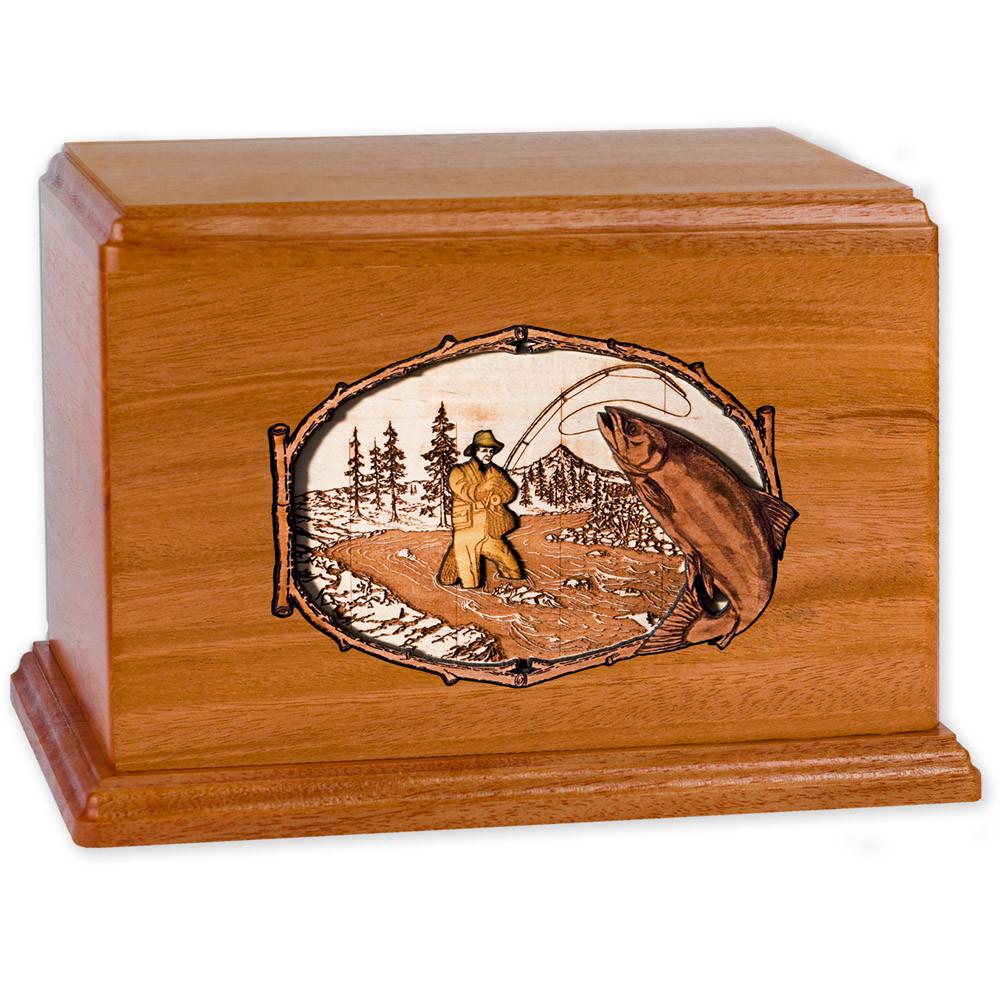 Stream Fishing Wood Companion Urn - Salmon - Mahogany