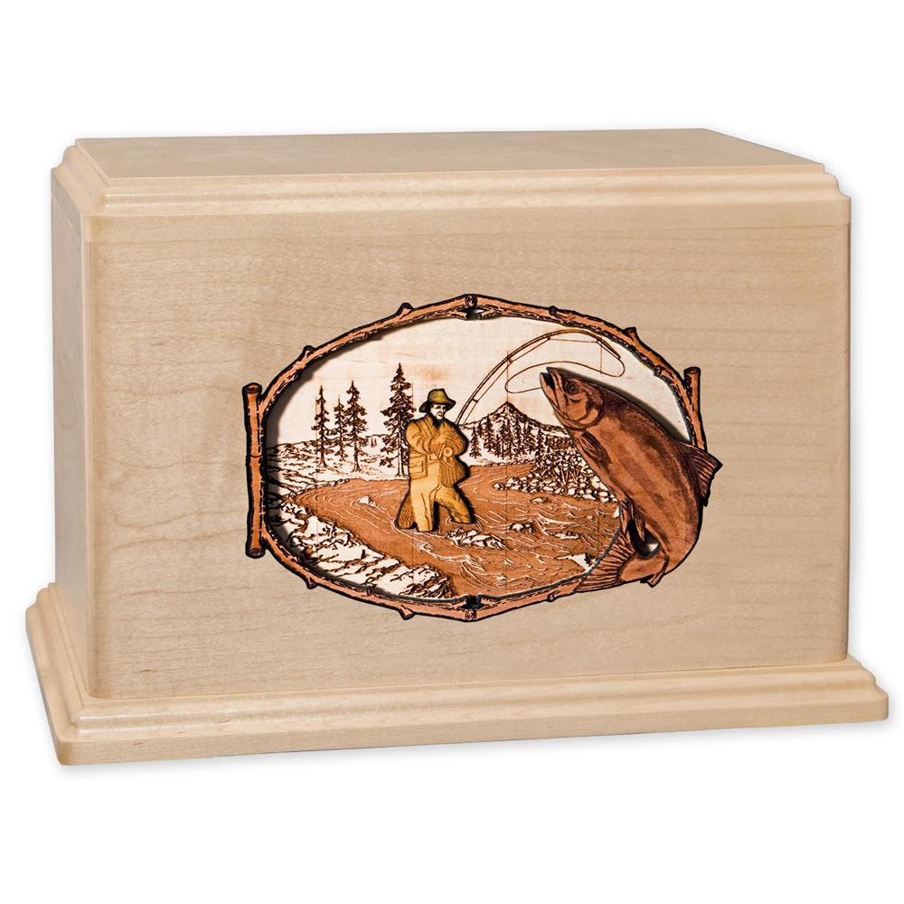 Stream Fishing Wood Companion Urn - Salmon - Maple