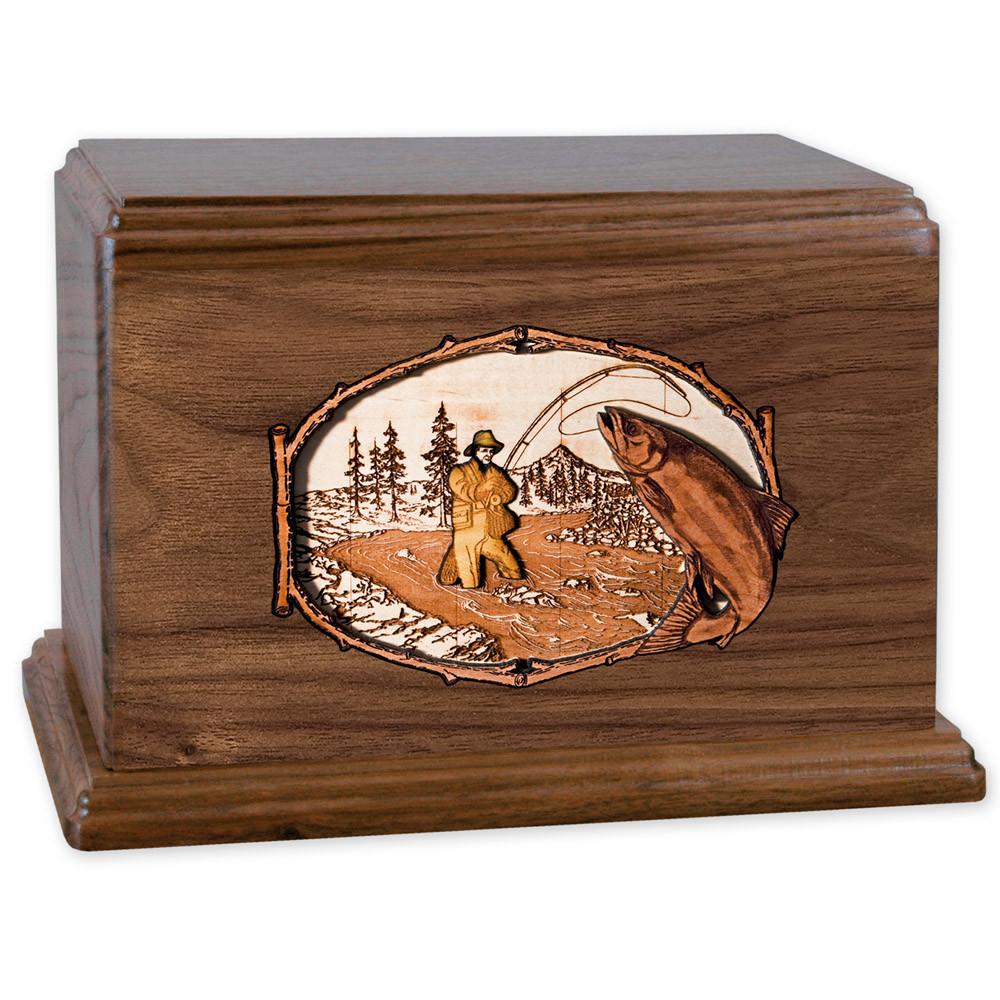 Stream Fishing Wood Companion Urn - Salmon - Walnut
