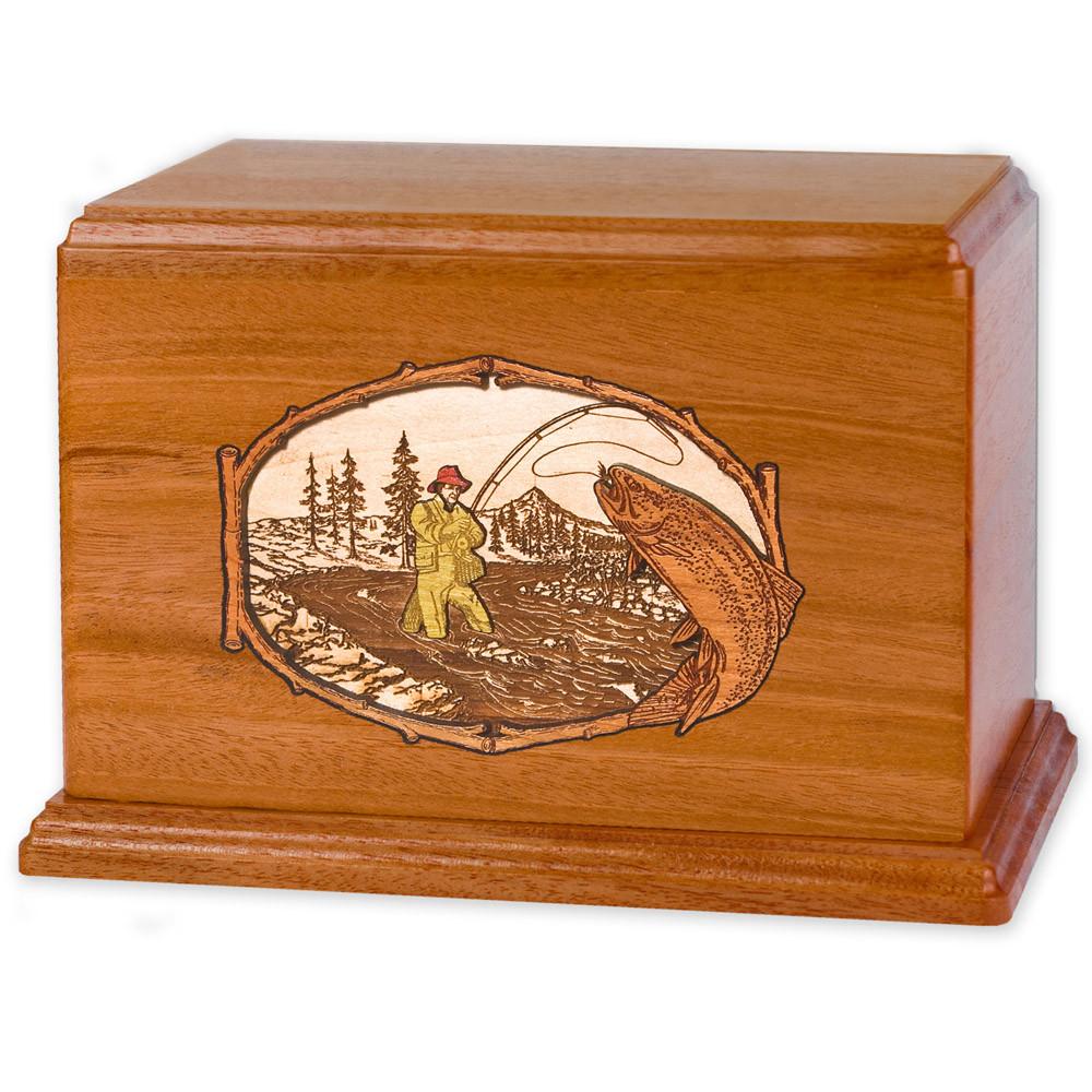 Stream Fishing Wood Companion Urn - Trout - Mahogany