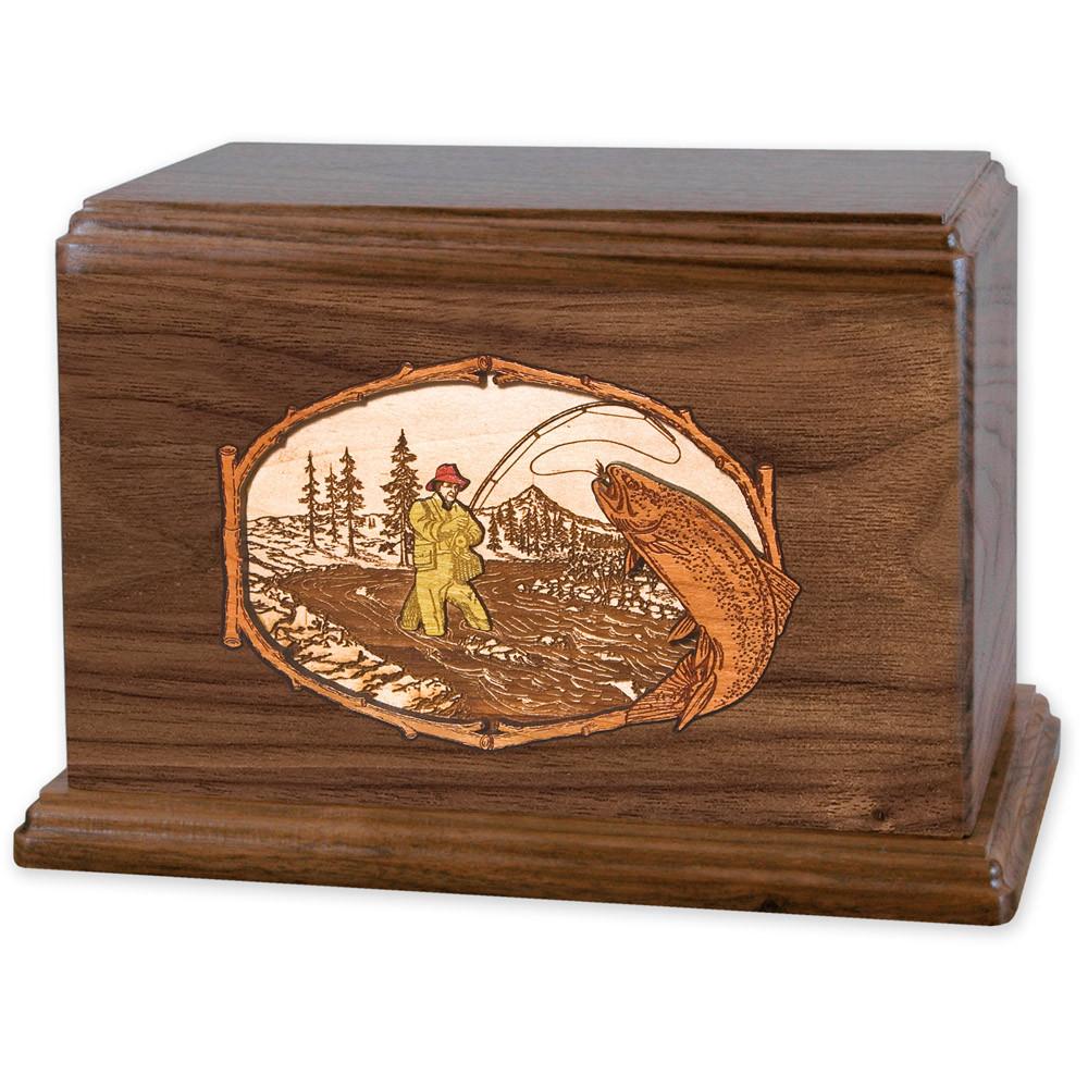 Stream Fishing Wood Companion Urn - Trout - Walnut