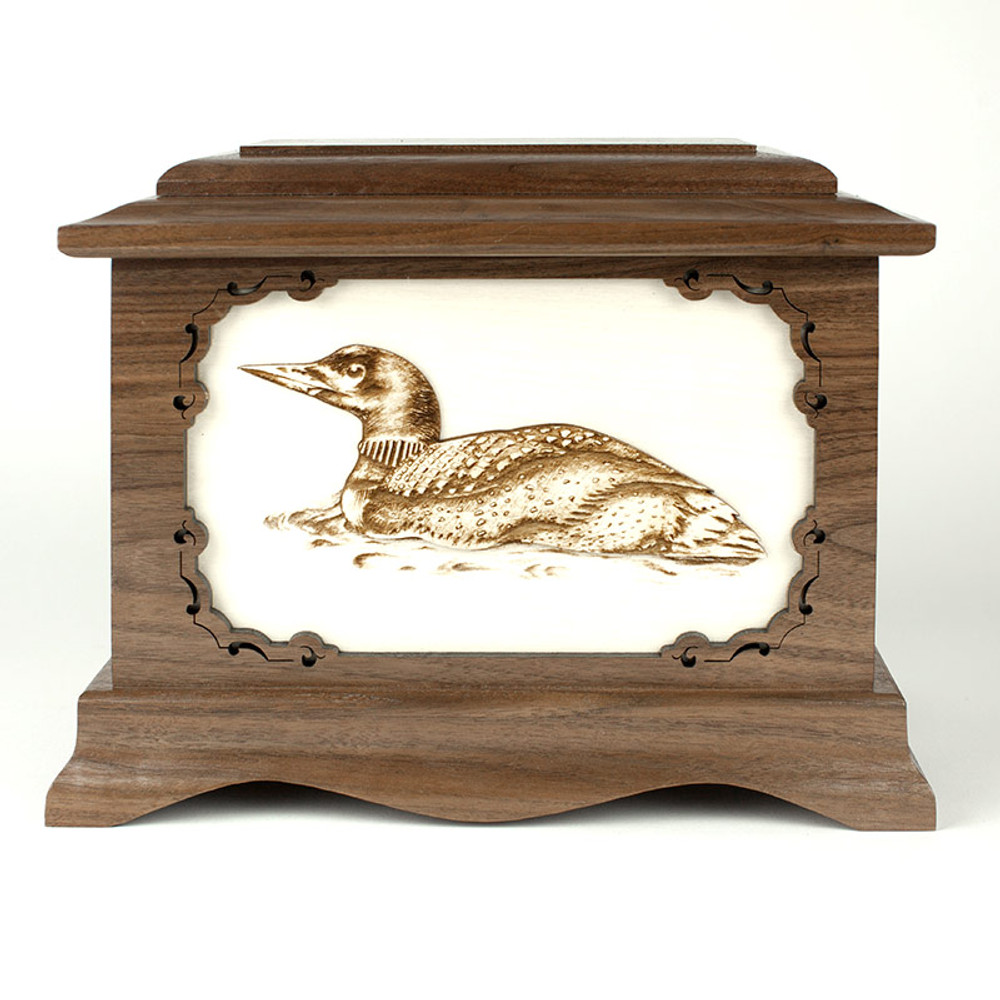 Loon Bird Cremation Urn with Inlay Wood Art