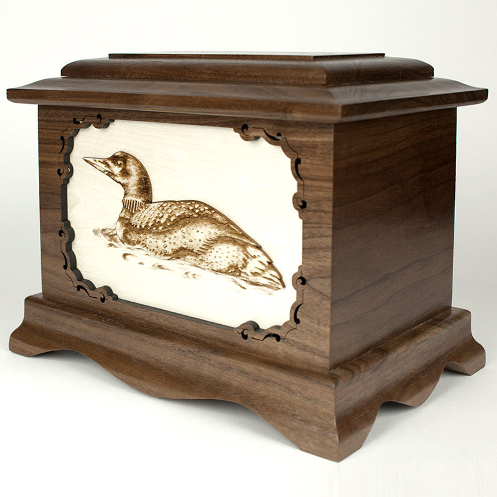 Loon Bird Cremation Urn with Inlay Wood Art
