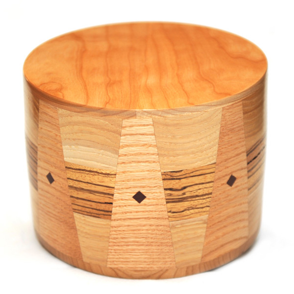 Round Cremation Urn in Maple & Zebrawood with Inlays
