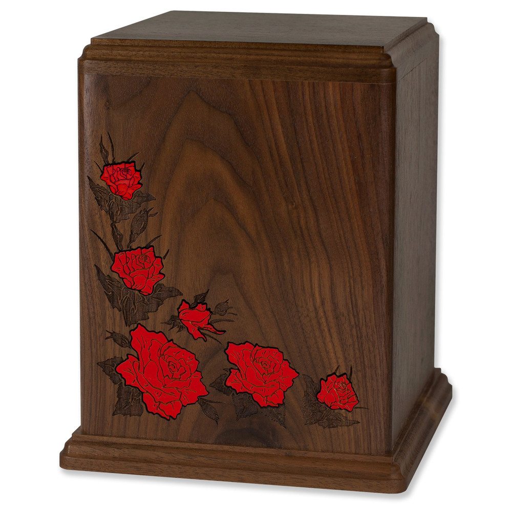 Walnut Wood Cremation Urn with Red Floral Inlay
